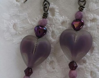 Violet Glass Heart Dangle Pierced Earrings