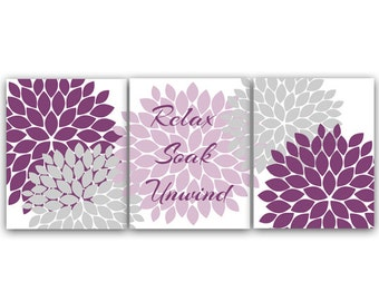 Simple Bathroom Canvas Wall Art Relax Soak Unwind Prints Purple And Gray  Bathroom Decor With Pink And Purple Bathroom Sets