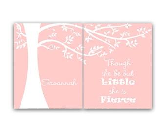 Though She Be But Little She Is Fierce, Nursery Wall Art, Personalized Kids Wall Art, Kids Name Art, Pink Nursery Decor - KIDS103