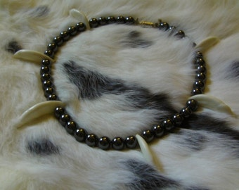 Coyote Fang and Hematite Inuyasha enchanted necklace replica