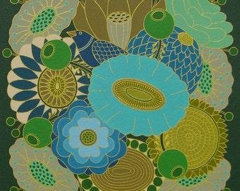 Blue Bouquet: Colorful floral bouquet art print