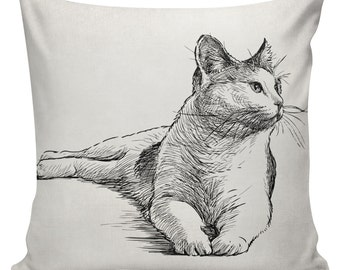Cat Cushion Pillow Cover cotton canvas throw pillow 18 inch square #UE0165 Cat Custom Personalized