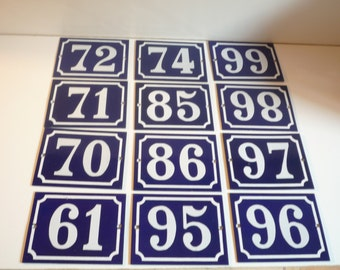 high quality traditional French Vintage, Blue Enamel Metal House Number 85 , 95 , 97 ET  20  Enamelware / street sign