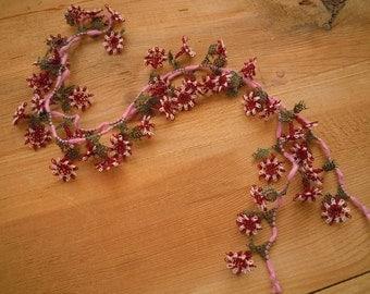 needle lace flowers, handmade traditional turkish oya flower, burgundy red white green