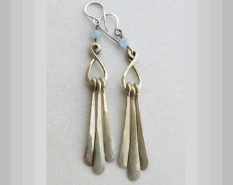 Dangle Earrings Brass Aquamarine Long Handcrafted OOAK
