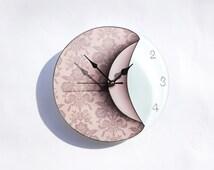 Art Clock, Pink Glass Clock, Hand Painted Wall Decor, Light Pink Decor, Flower Clock, Wall Decoration, Damask Decor, Art Deco Clock