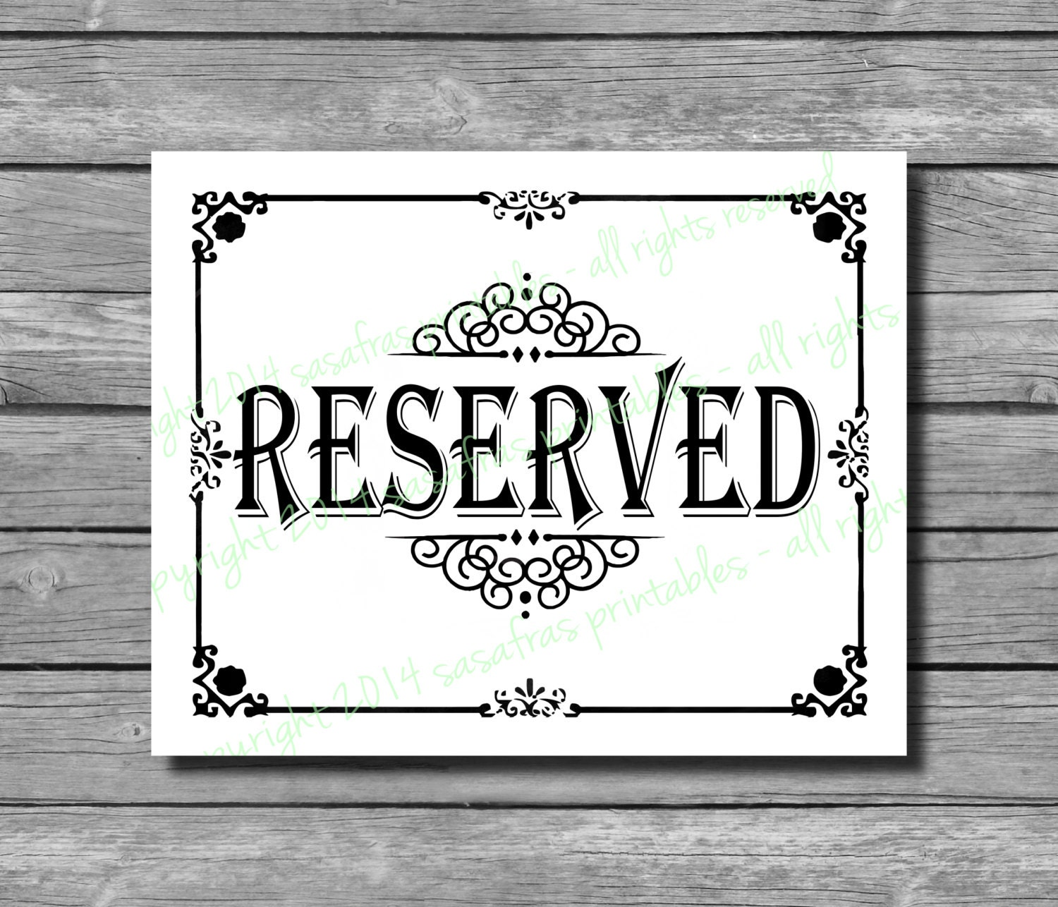 It's just an image of Genius Printable Reserved Signs