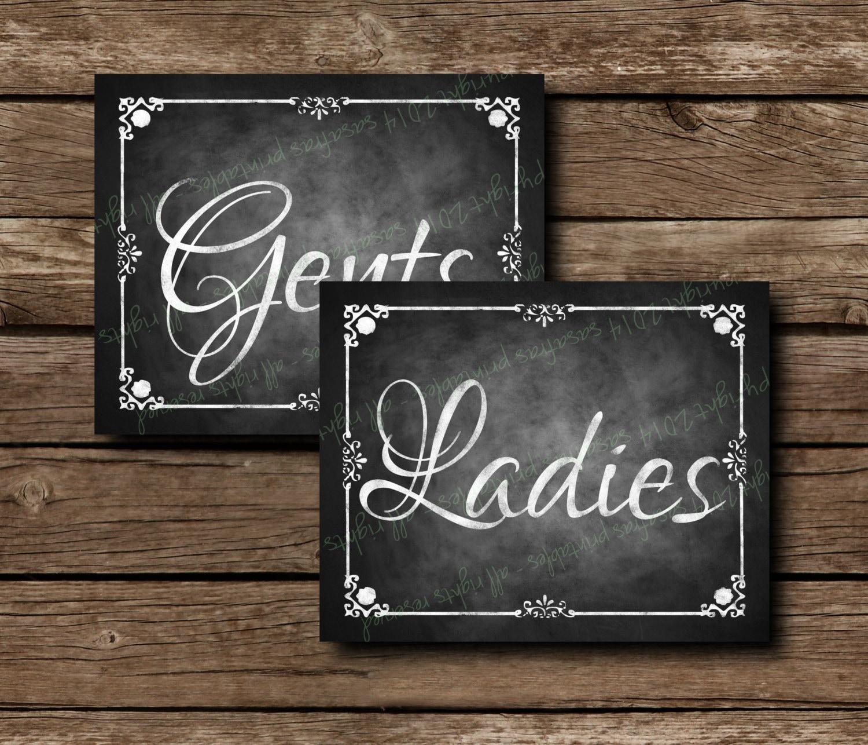 Gents Ladies Restroom Door Sign Bathroom Door Sign Rest