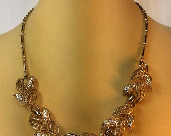 Vintage Gold And Rhinestone Necklace 1928