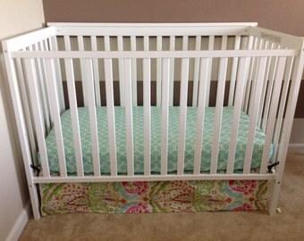 3-sided Crib Skirt - Kumari Garden Teja Pink