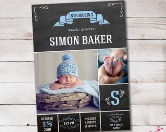 Chalkboard Announcement - Baby boy announcement - Birth announcement template - Newborn announcement - Printable - Digital file - baby boy
