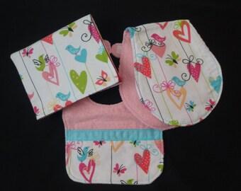 Baby Girl Hearts 'n Birds 2 /Bib / Burp / Changing Pad / Baby shower gift / butterflies / ribbons / flowers / hearts / Hot pink, aqua