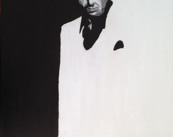Black and White  painting of Scarface, Al Pacino, classic scarface painting,scarface 1993,Scarface Art,  Tony Montana, fathers day