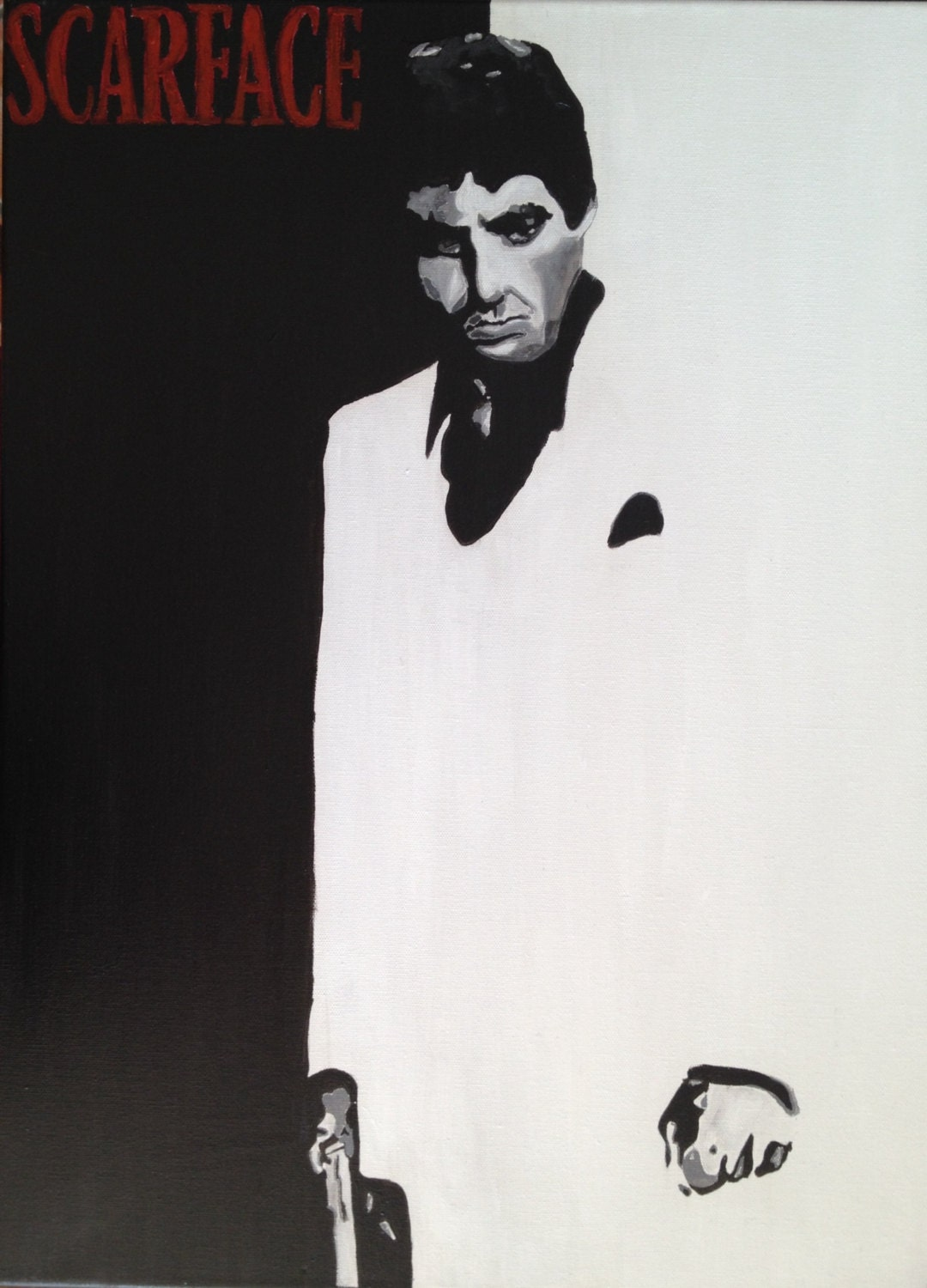 Black And White Painting Of Scarface Al Pacino Classic