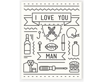 Bromance Card / I Love You Card / Dude Card / I Love You Man