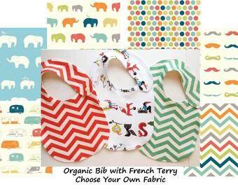 ORGANIC BABY BIB  - Standard Size - You Choose the Fabric - Ready to Ship!