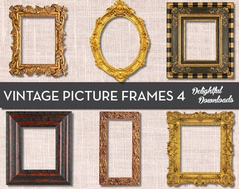 Antique Vintage Picture Frame Clip Art - VOL 4 - for Digital Collage, Scrapbooking, Cards, Prints