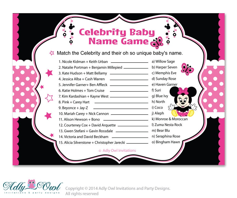 Baby name game celebrity for girls