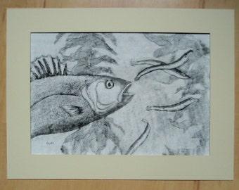 Sea Bass Catching Sand eel Black and White Intaglio Print
