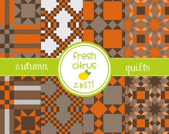 Autumn Quilts Digital Paper for Scrapbooking Invitations Cards and Party Decor