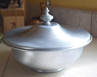 """Rare Buenilum spun aluminum bowl 10 3/4"""" wide 1950's"""