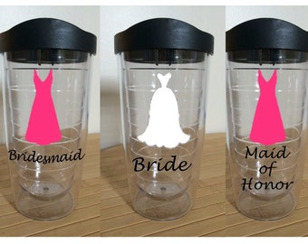 Bridal Party Double Insulated Tumblers with Lids
