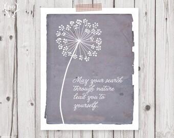 Dandelion inspirational quote home decor printable art instant download