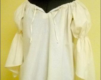 RENAISSANCE COSTUME SHIRT Pirate Peasant Wench Civil War Top 100% cotton Muslin c33