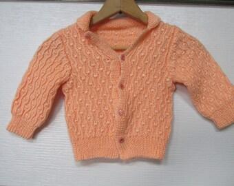 Handknit  Toddler Sweater Peach Coral  Girls Handmade Sweater