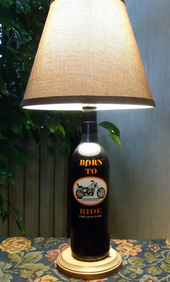 Wine bottle lamp with shade harley davidson biker motorcycle light