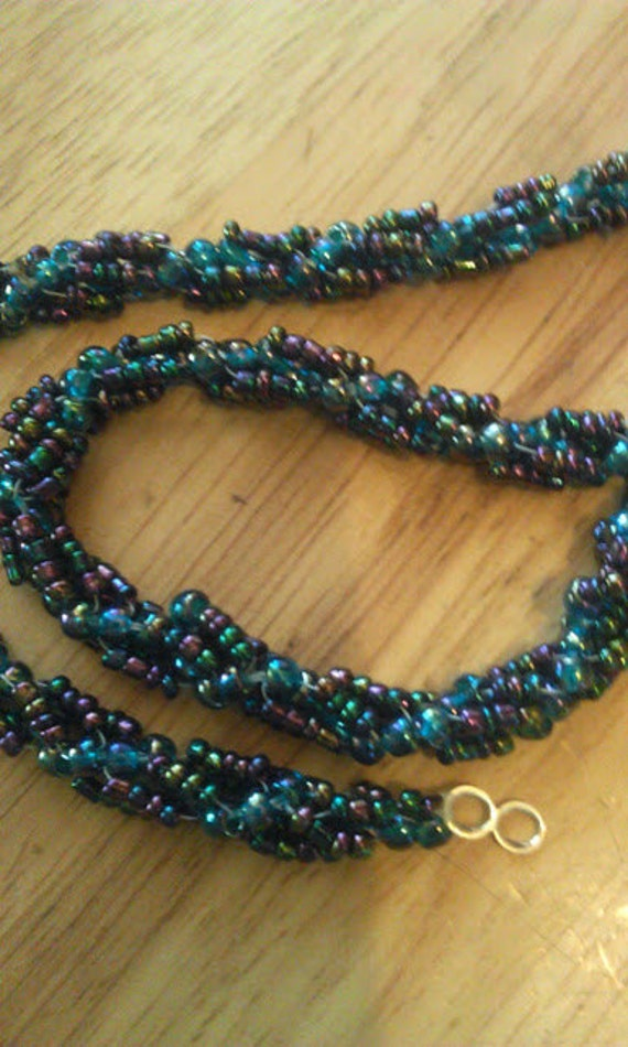 iris seed bead spiral rope necklace by sewmaster64 on etsy