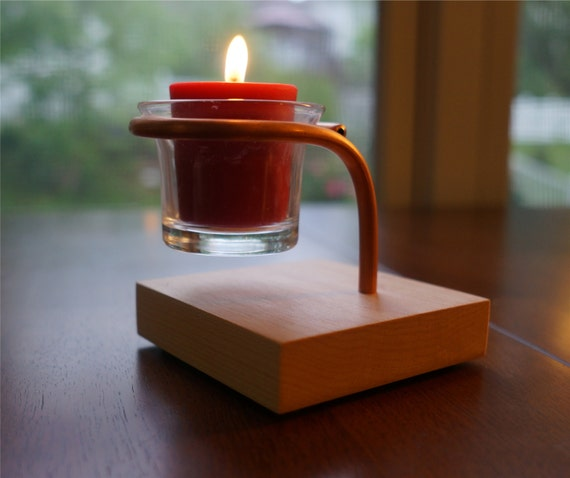 Table Top Single Votive Candle Holder With A Square Maple Base
