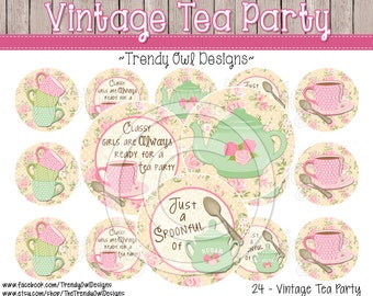 """Vintage Tea Party - Bottle Cap Images - INSTANT DOWNLOAD - 1"""" Bottle Cap Images 4x6 - 24"""