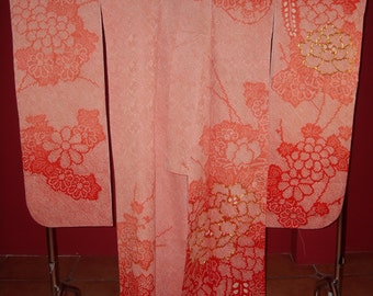 superb shibori flower furisode kimono