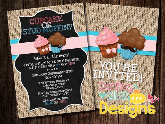 Cupcake or Stud Muffin Gender Reveal by DarlingSailorDesigns