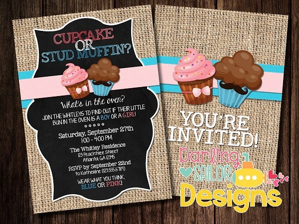 Cupcake or Stud Muffin Gender Reveal by DarlingSailorDesigns