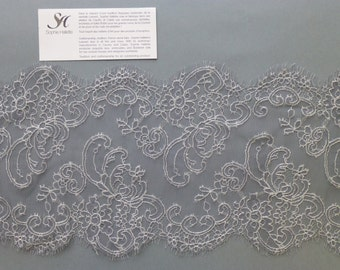 Delicate French Chantilly lace as trims by Sophie Hallette