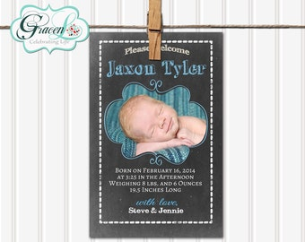 Baby Announcement, Boy Baby Announcement, Chalkboard Baby Announcement, Unique Baby Announcement, Personalized Baby Announcement