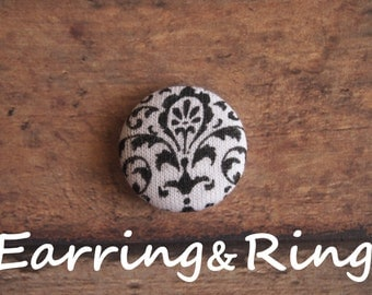 black and white damask fabric covered button earrings, fabric covered button clip on earrings, fabric covered button ring