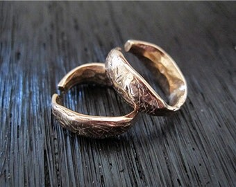 Red Bronze Organic Rustic Textured Artisan Oval Shaped Designer Open Jump Ring and Bail (set of 2) (A)
