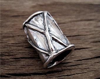 Large, Handmade, Sterling Silver, Artisan, CrissCross Design Bead and Slider (one) (A)