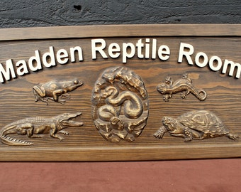 Reptile Room Sign Family Name Sign Custom Carved Sign Carved Wooden Sign Personalized Carved Sign Carved Wood Sign Custom Wood Sign