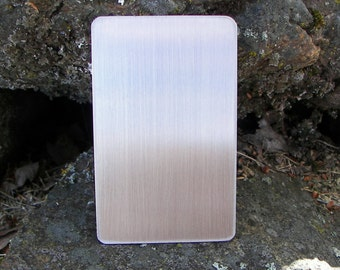 "Stainless Steel wallet blank (5-4000) 2 1/8"" x 3 3/8"" 22 gauge (.030""), READY TO STAMP, Stainless Steel Blank, Stainless Tag"