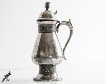 Meriden Quadruple Silver Plate/Silverplate Syrup Pitcher with Hinged Lid and Finial - Hollowware #1359
