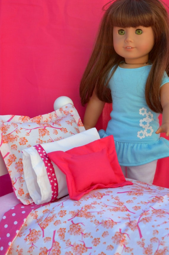 """5 pc Pink Shabby Chic Floral Dot Reversible bedding for 18"""" Dolls, American Girl Doll Bedding"""