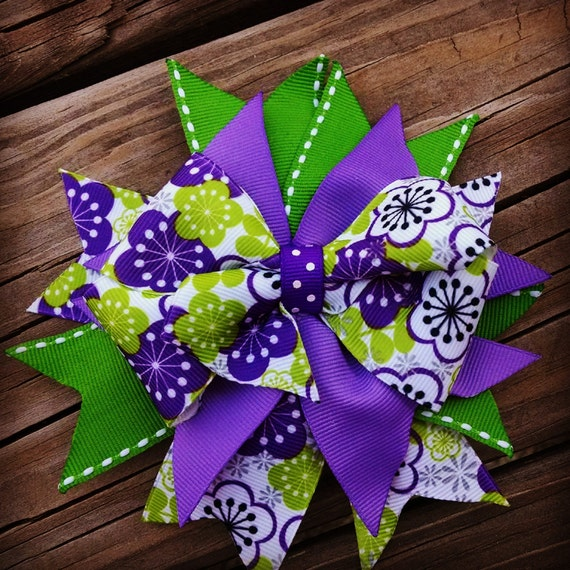 Purple and Green Spikey Bow