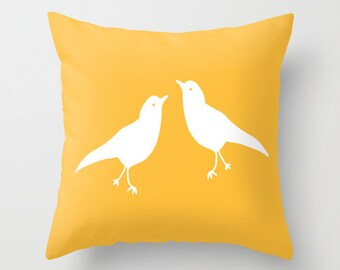 Yellow Bird Pillow Cover, rustic decor, animal pillow cover, love birds pillow cover, spring pillow cover, easter pillow cover, easter decor