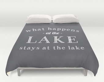 What Happens At The Lake Duvet Cover, lake bedroom decor, grey queen duvet cover, gray duvet cover, queen size duvet covers choose color