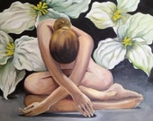 Femininity Nude, an original oil painting, already framed, size without a frame 24X30 inches, woman, flowers,  artist Olya Kempe