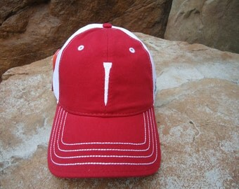 Men's Two-Tone Cotton Golf Hat Red with Embroidered Tee Design | Great Golf Gift Item